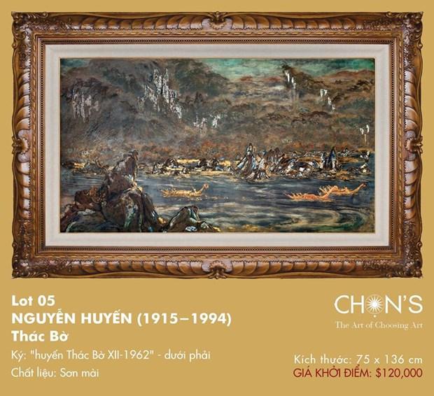Pintura de laca subastada por un record de 280 mil dolares en Vietnam hinh anh 1