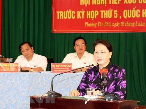 Presidenta parlamentaria se reune con votantes en ciudad surena de Can Tho hinh anh 1