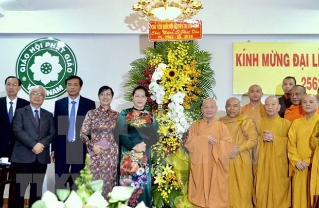 Presidenta parlamentaria vietnamita felicita a comunidad budista en ocasion de Dia de Vesak hinh anh 1