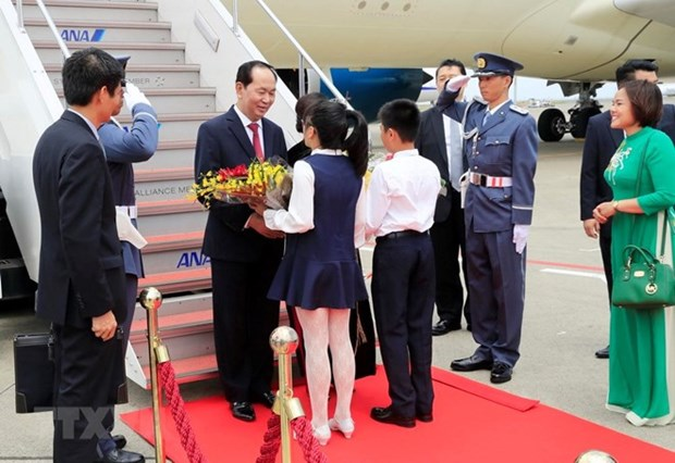 Presidente vietnamita llega a Japon para iniciar visita estatal hinh anh 1