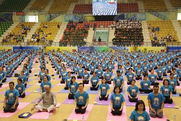 Cuarto Dia Internacional de Yoga llega a provincia vietnamita de Gia Lai hinh anh 1