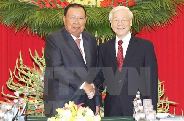 Maximo dirigente de Laos inicia visita a Vietnam hinh anh 1