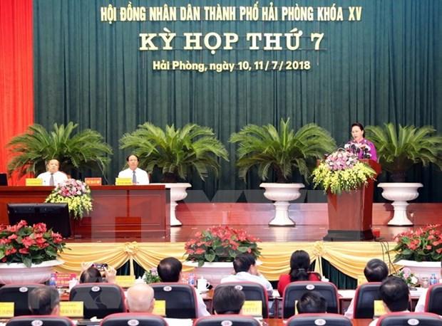 Asiste presidenta del Parlamento de Vietnam a sesion del Consejo Popular de Hai Phong hinh anh 1