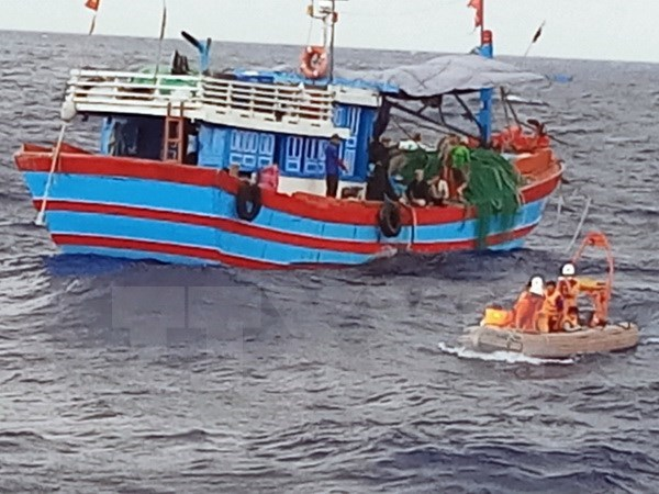 Trabajan fuerzas de rescate para encontrar a marinos vietnamitas desaparecidos cerca de isla Co To hinh anh 1