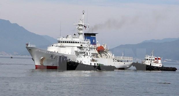 Fuerza de guardacostas de Japon atraca en puerto vietnamita de Tien Sa hinh anh 1