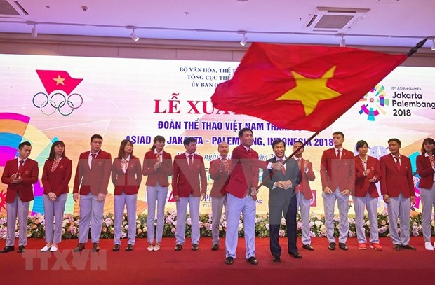 Despiden a delegacion de atletas vietnamitas participantes en juegos continentales ASIAD-2018 hinh anh 1