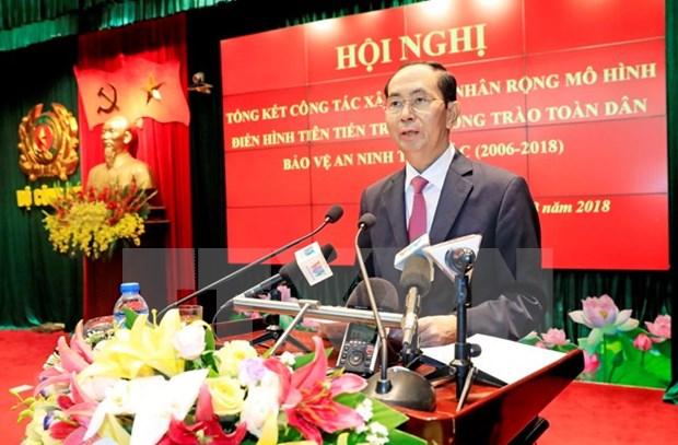 Presidente de Vietnam insta a promover movimiento popular para garantizar seguridad hinh anh 1