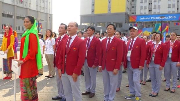 Vietnam celebra acto de izamiento de bandera en Juegos Asiaticos en Indonesia hinh anh 1