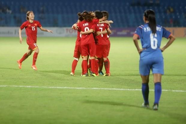 Seleccion femenina de futbol de Vietnam avanza a cuartos de final de ASIAD 2018 hinh anh 1