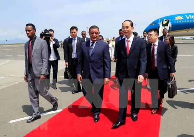 Presidente de Vietnam inicia visita estatal a Etiopia hinh anh 1