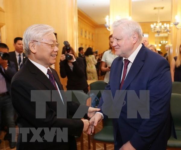 Dirigente partidista de Vietnam se reune con presidente del Partido Rusia Justa hinh anh 1