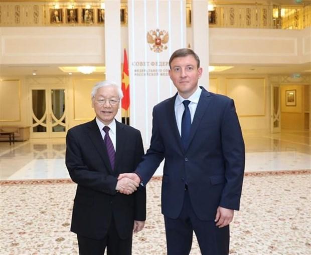 Secretario general del PCV se reune con dirigente del Consejo de la Federacion de Rusia hinh anh 1