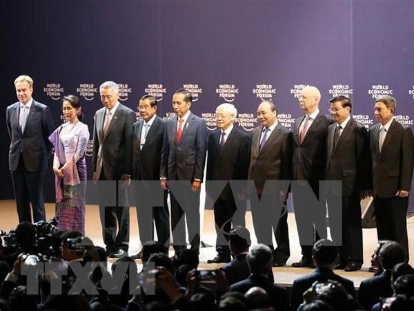 Inauguran oficialmente Foro Economico Mundial sobre la ASEAN en Hanoi hinh anh 1