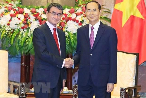 Presidente vietnamita aprecia el desarrollo practico de asociacion estrategica con Japon hinh anh 1