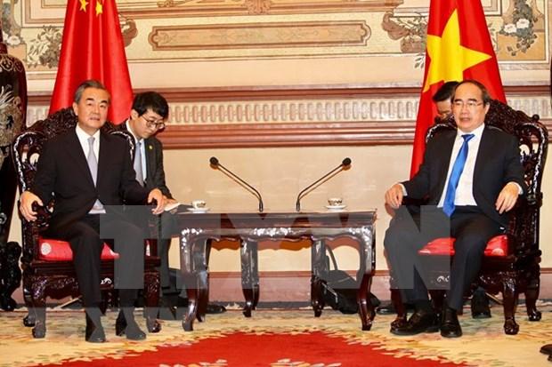 Dirigente de Ciudad Ho Chi Minh recibe al consejero de Estado chino hinh anh 1