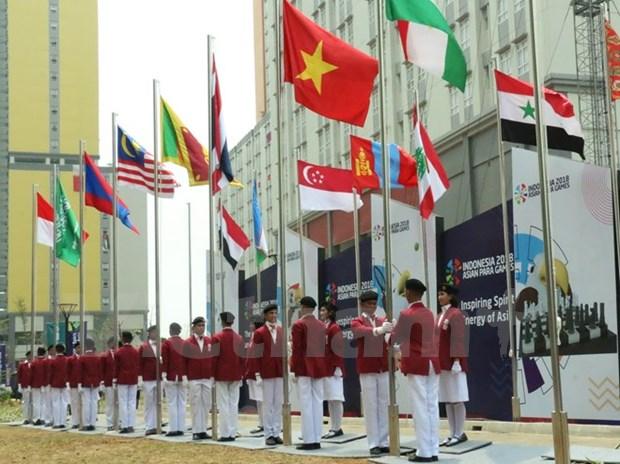 Ya ondea en Indonesia bandera vietnamita en ocasion de Juegos Paralimpicos de Asia hinh anh 1