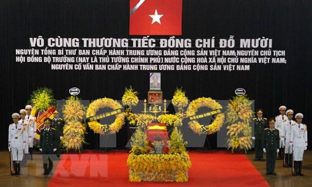 Realizan acto funebre en memoria de Do Muoi, exsecretario general del Partido Comunista de Vietnam hinh anh 1