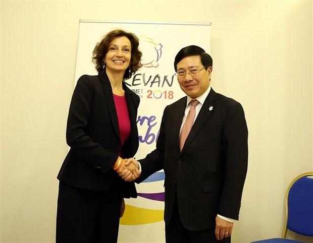 Amplia agenda del vicepremier vietnamita al margen de XVII Cumbre de la Francofonia hinh anh 1