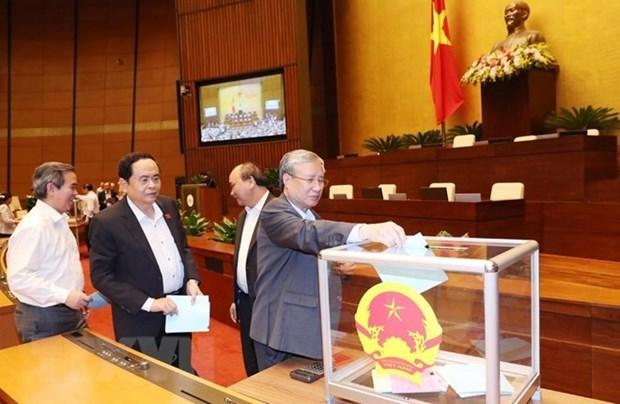 Legisladores vietnamitas emiten votos de confianza en cuarta jornada del VI periodo de sesiones hinh anh 1