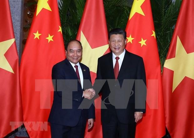 Premier vietnamita dialoga con secretario general del Partido y presidente chino hinh anh 1