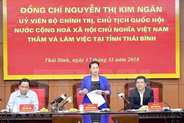 Presidenta del Parlamento de Vietnam pide desarrollar agricultura organica en Thai Binh hinh anh 1