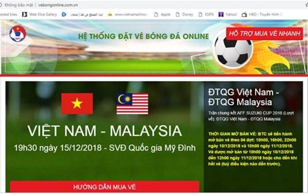 Detectan sitio web falso vendiendo entradas finales de AFF Suzuki Cup hinh anh 1