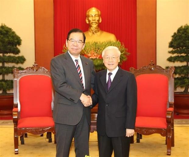 Maximo dirigente politico de Vietnam recibe al lider del Partido Comunista de Japon hinh anh 1