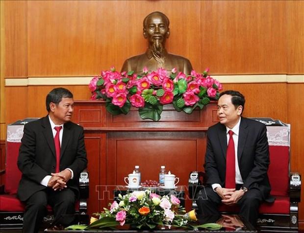 Organizaciones de masas de Laos y Vietnam fortalecen cooperacion hinh anh 1