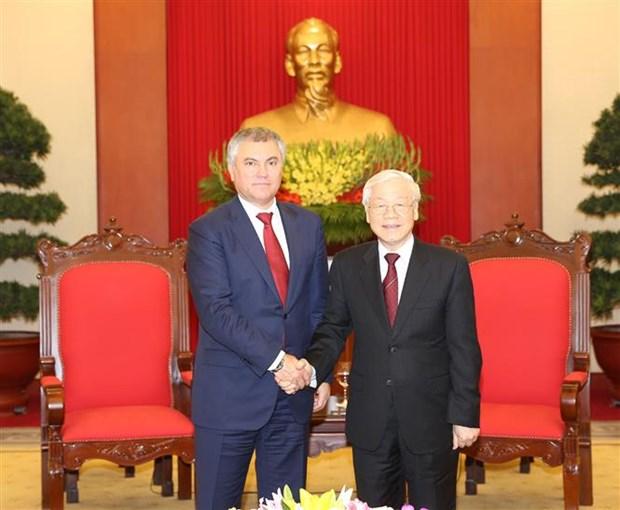 Maximo dirigente politico de Vietnam recibe a presidente de Duma Estatal de Rusia hinh anh 1