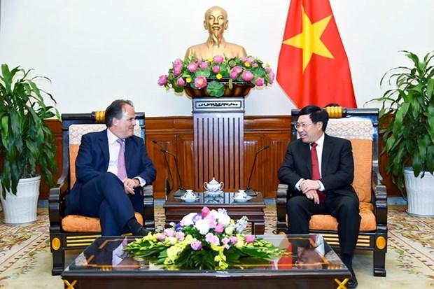 Vicepremier vietnamita recibe al secretario de Estado en Cancilleria de Reino Unido hinh anh 1