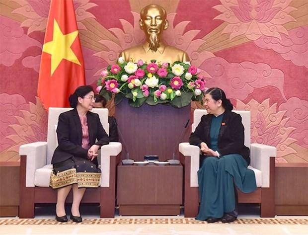 Vicepresidenta del Parlamento de Vietnam recibe a jefa de Auditoria Estatal de Laos hinh anh 1