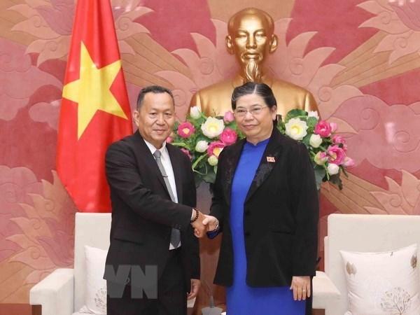 Pide vicepresidenta del Parlamento de Vietnam impulsar nexos entre las agencias de noticias de su pais y Laos hinh anh 1
