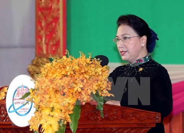 Reafirma presidenta del Parlamento de Vietnam respaldo a tema del Foro Asia-Pacifico hinh anh 1