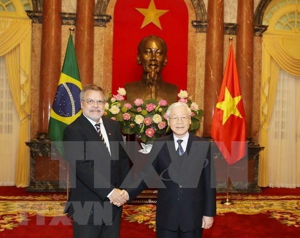 Recibe presidente de Vietnam a nuevos embajadores hinh anh 1