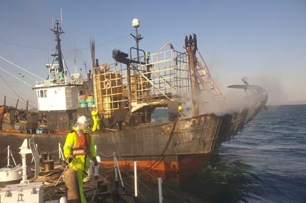 Un tripulante vietnamita muerto tras el incendio de un barco en Corea del Sur hinh anh 1