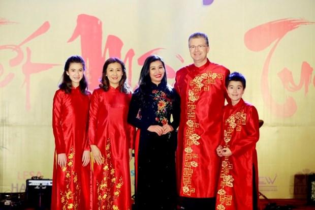 Transmiten diplomaticos extranjeros en Vietnam felicitaciones por el Ano Nuevo Lunar hinh anh 1