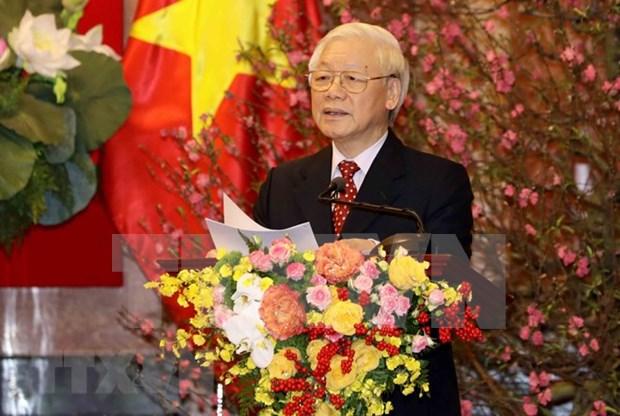 Secretario general del Partido y presidente Nguyen Phu Trong envia mensajes de felicitacion en ocasion del Tet hinh anh 1
