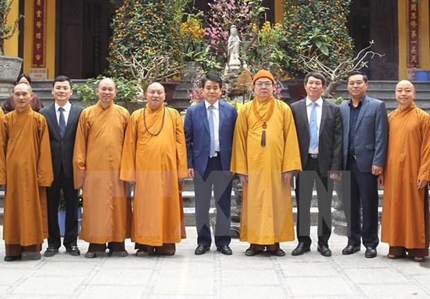Felicitan autoridades de Hanoi a Sangha Budista de Vietnam por el Tet 2019 hinh anh 1