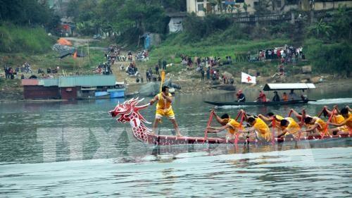 Efectuan en Vietnam regatas tradicionales de barcos en celebracion del Tet hinh anh 1