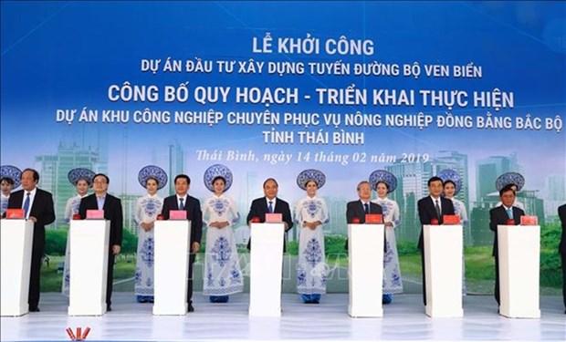 Inaugura Premier vietnamita diferentes proyectos importantes en provincia de Thai Binh hinh anh 1