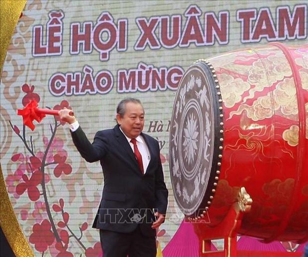 Vicepremier Truong Hoa Binh inicia la fiesta primaveral en Pagoda Tam Chuc hinh anh 1