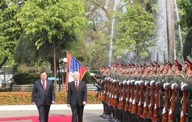 Vietnam y Laos resaltan la grandeza de sus nexos amistosos hinh anh 1