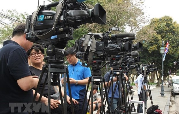 Cubren unos tres mil periodistas extranjeros Cumbre EE.UU.– RPDC en Vietnam hinh anh 1