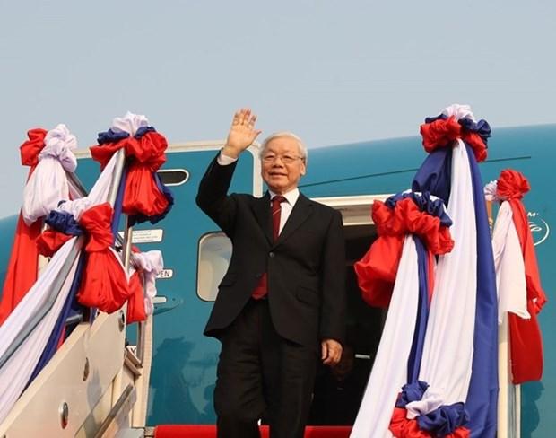 Impulso gira del maximo dirigente de Vietnam por Laos y Camboya relaciones con ambos paises hinh anh 1