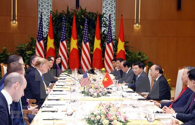 Muestra Trump optimismo sobre resultados de Cumbre EE.UU.-RPDC en Hanoi hinh anh 1