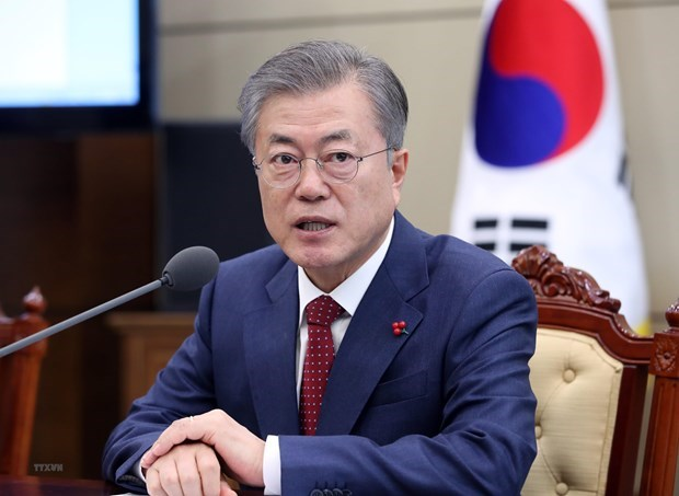 Sostendran contacto telefonico presidentes de EE.UU. y Corea del Sur sobre Cumbre Trump-Kim en Hanoi hinh anh 1