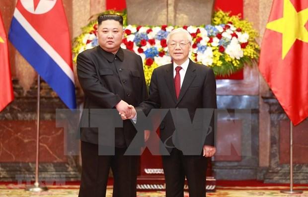 Recibe maximo dirigente politico de Vietnam al lider norcoreano hinh anh 1