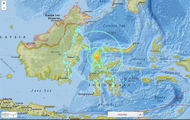 Sacude sismo de magnitud cinco provincia indonesia de Sulawesi hinh anh 1
