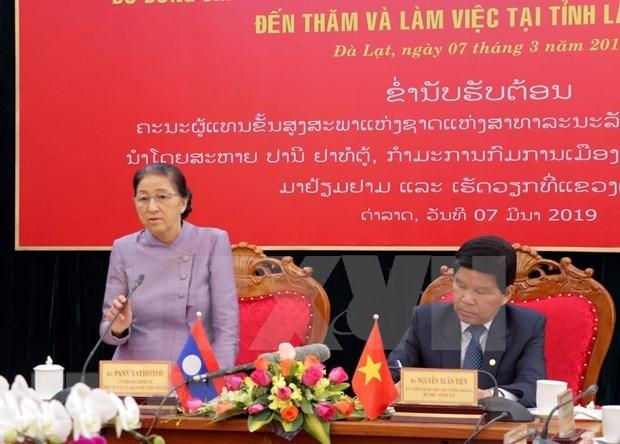 Aboga lider parlamentaria de Laos por fortalecer la cooperacion entre su pais y Vietnam hinh anh 1