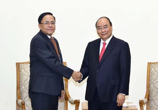 Recibe premier vietnamita al ministro de cooperacion internacional de Myanmar hinh anh 1